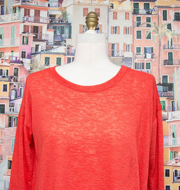 Nally and Millie Light Open Knit Top Red