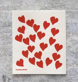 Three Bluebirds Swedish Dishcloth Hearts Red