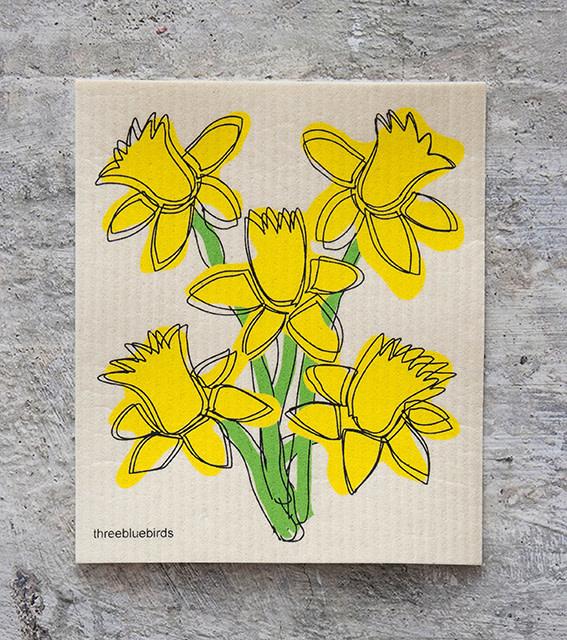 Three Bluebirds Swedish Dishcloth Daffodils