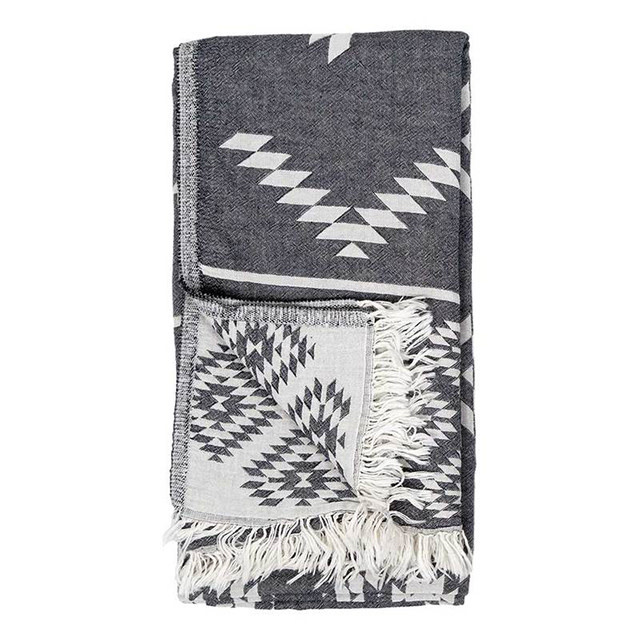 Pokoloko Turkish Reversible Geometric Towel Grey
