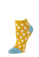 Little River Sock Mill Ditsy Floral Anklet Marigold