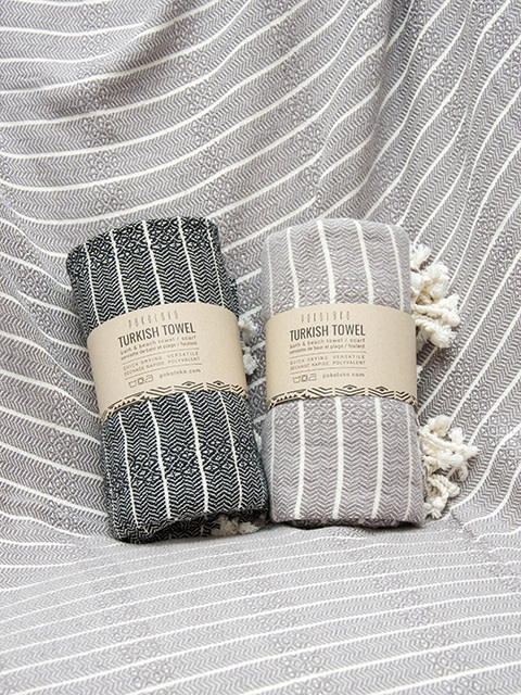 Pokoloko Bamboo Turkish Striped Towel Slate