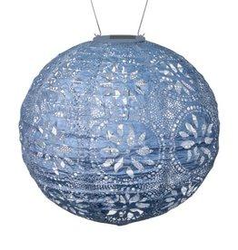 """Allsop Home and Garden Solar Lantern Boho Globe Metallic Blue 12"""""""