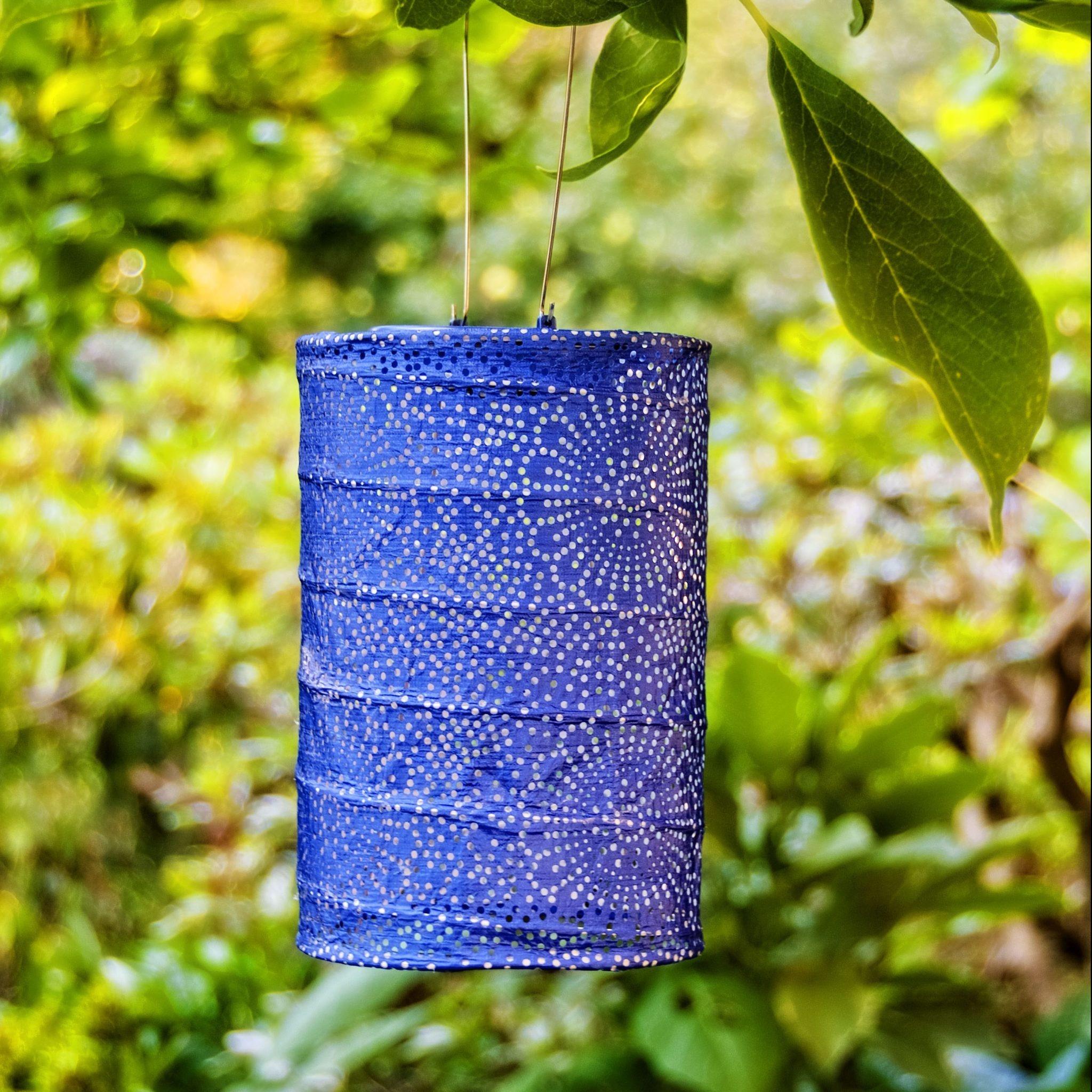 "Allsop Home and Garden Solar Lantern Cylinder Blue 7.5"""