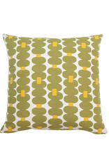 Kreatelier Dotted Stripe Pillow in Green and Yellow 18 x 18in