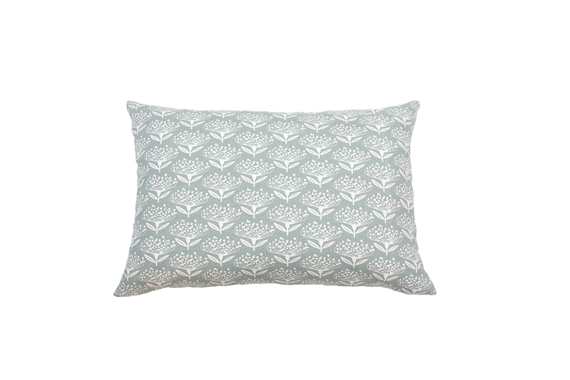Kreatelier Floral Pillow in Blue 15 x 22in