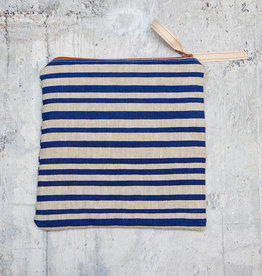 Moontea Artwork Square Zipper Pouch Blue Stripes