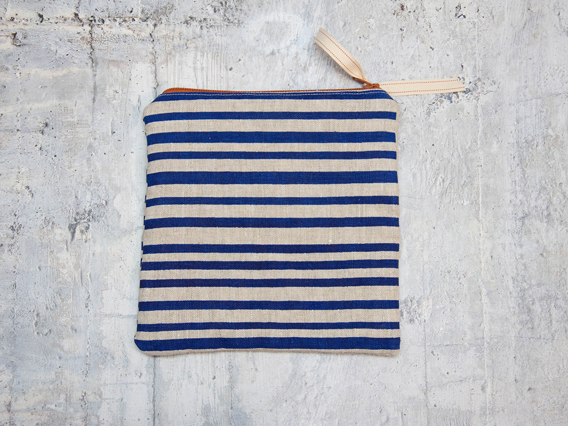 Moontea Artwork Square Zipper Pouch Blue Stripes
