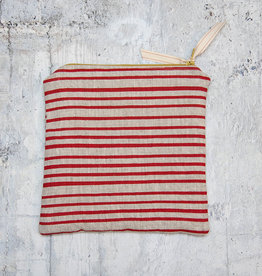 Moontea Artwork Square Zipper Pouch Red Stripes