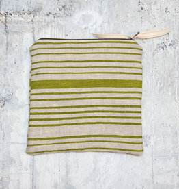 Moontea Artwork Square Zipper Pouch Green Stripes