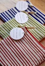 Moontea Artwork Square Zipper Pouch Green Stripes