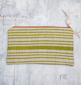 Moontea Artwork Long Zipper Pouch Green Stripes