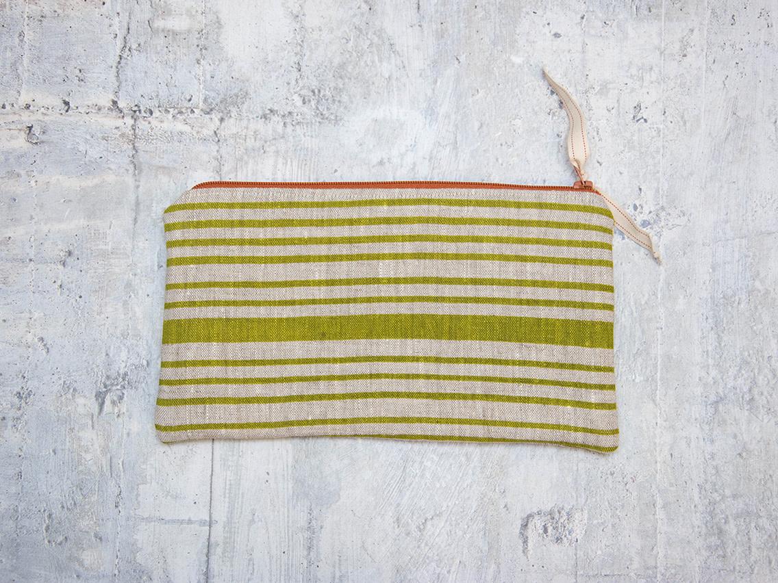 Moontea Artwork Long Zipper Pouch Green Stripes