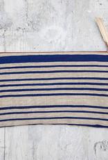 Moontea Artwork Long Zipper Pouch Blue Stripes