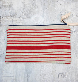 Moontea Artwork Long Zipper Pouch Red Stripes