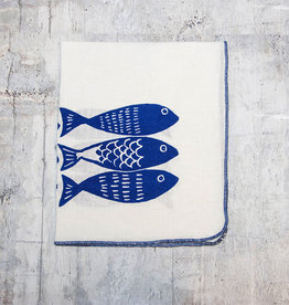 Moontea Artwork Tea Towel Sardines Blue