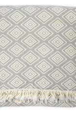 Pokoloko Fleece Lined Throw Pyramid Light Grey