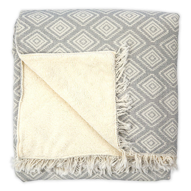 Pokoloko Fleece Lined Pyramid Throw Light Grey