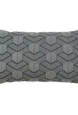 Kreatelier Geometric Pillow in Grey and White - 14 x 22in