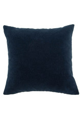 Kreatelier Embroidered Wave Pillow in Grey and Navy 16 x 16in