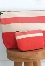 Rockflowerpaper Zip Pouch Painterly Small Stripe Pink