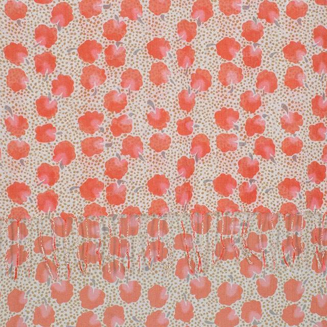 Rockflowerpaper Scarf Leah Coral with Tassels