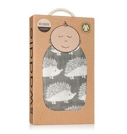 Milkbarn Muslin Swaddle in Grey Hedgehog