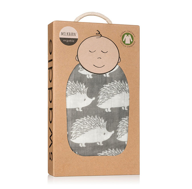 Milkbarn Muslin Swaddle in Grey Hedgehog