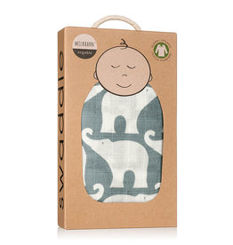 Milkbarn Muslin Swaddle in Blue Elephant