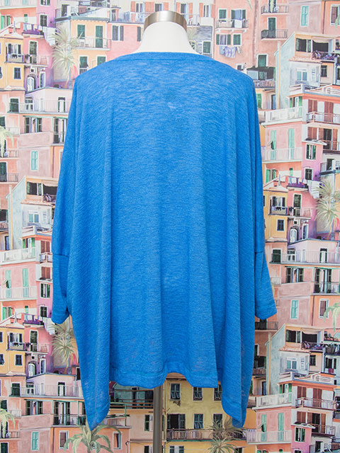 Nally and Millie V Neck Poncho Top With Side Slit Blue OS