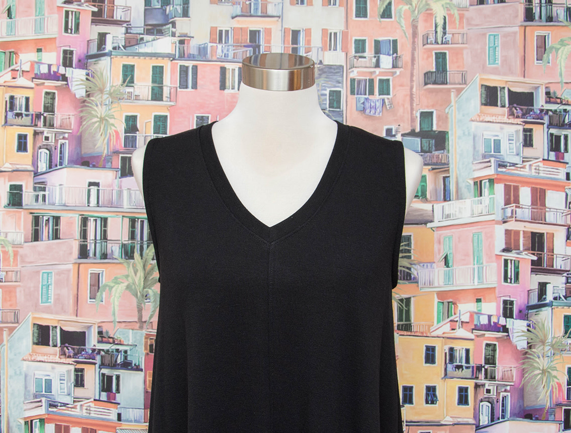 Nally and Millie French Terry Hi Lo Tank Dress Black