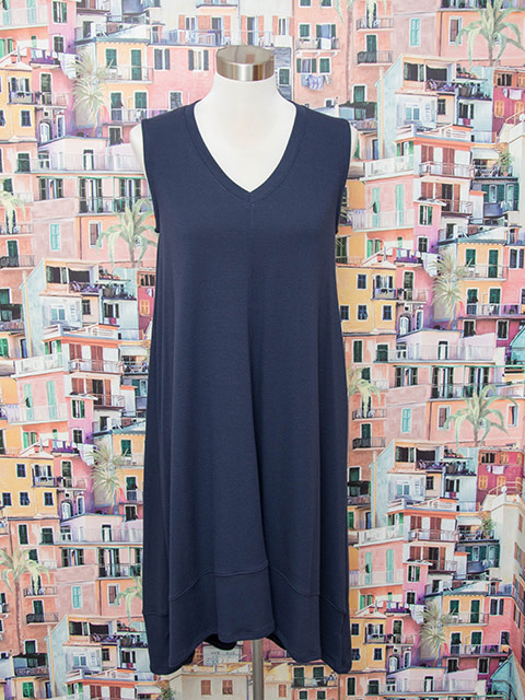 Nally and Millie French Terry Hi Lo Tank Dress Ink
