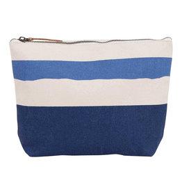 Rockflowerpaper Large Zip Pouch Painterly Stripe Navy