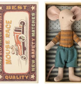 Maileg Mouse Big Brother Rust Top Blue Short in Box