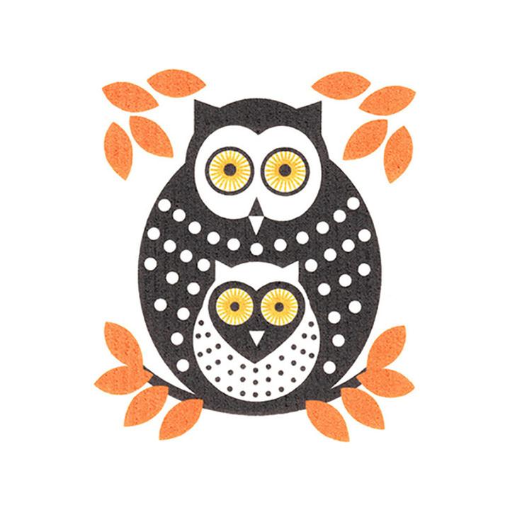 Swedish Dishcloth Owls Orange