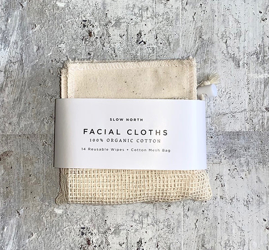 Slow North Reusable Facial Cloths Natural