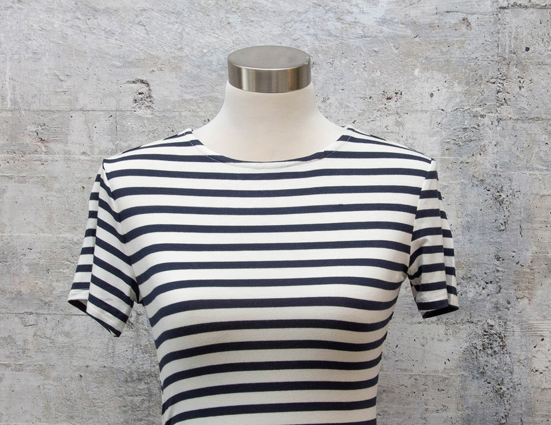 RD International Knit Dress in Navy and White Stripe