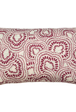 Kreatelier Swirl Pillow in Maroon and Turquoise 15 x 22in