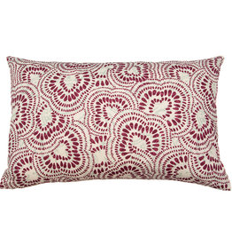 Kreatelier Swirl Pillow in Maroon and Turquoise 15 x 22