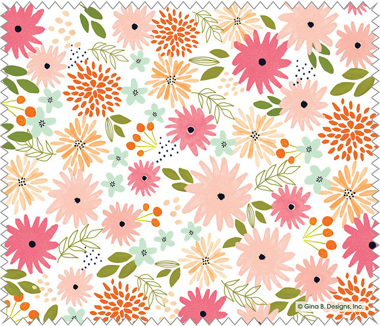 Gina B Designs Microfiber Cloth Blush Floral