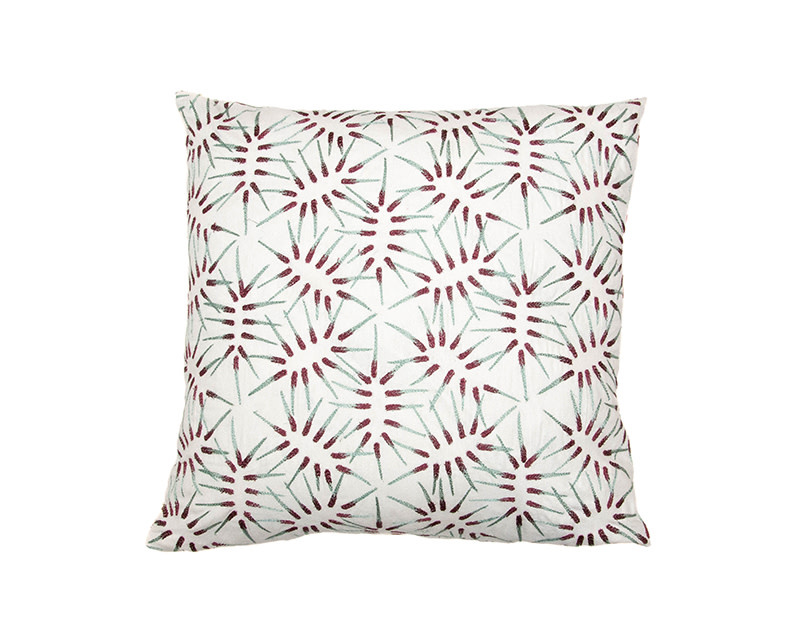 Kreatelier Matchstick Pillow in Maroon and Turquoise 18 x 18in
