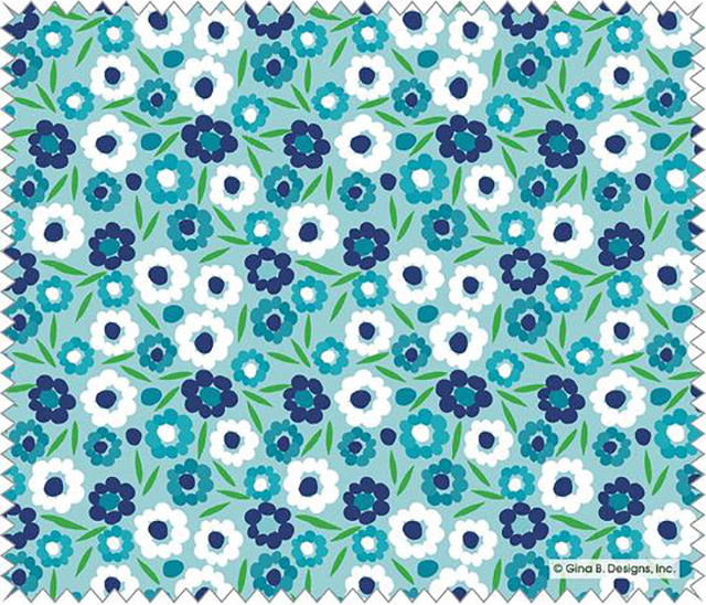 Gina B Designs Microfiber Cloth Blue Posies
