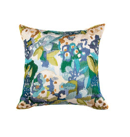 Kreatelier Abstract Floral Pillow in Blue Multi