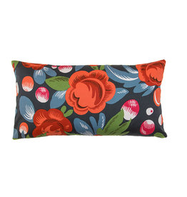 Kreatelier Floral Pillow in Blue and Orange 11x21