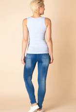 Yest Yippie Wide Band Tank in Powder Blue