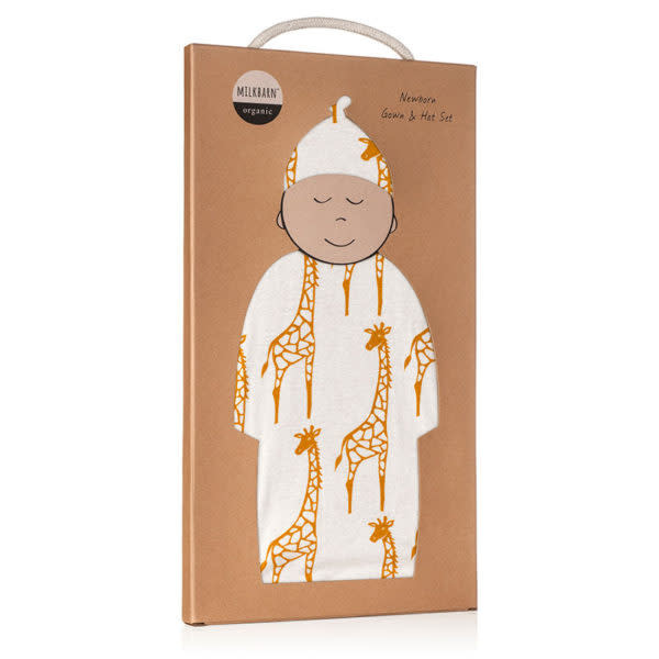 Milkbarn Gown and Hat Set Yellow Giraffe