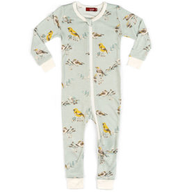 Milkbarn Bamboo Zipper Pajama Blue Bird