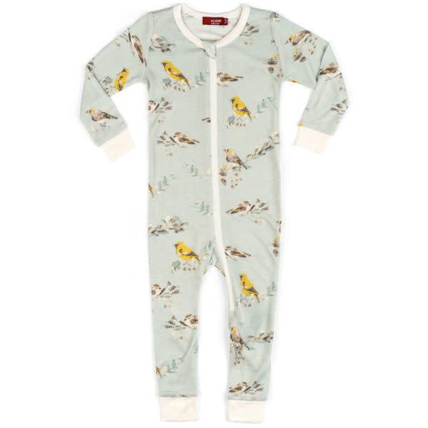 Milkbarn Bamboo Zipper Pajama Blue Bird
