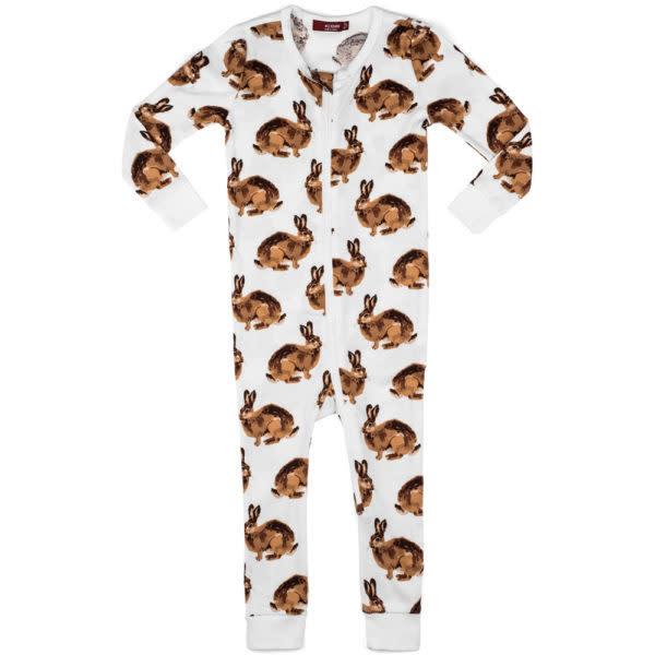 Milkbarn Organic Zipper Pajama Bunny