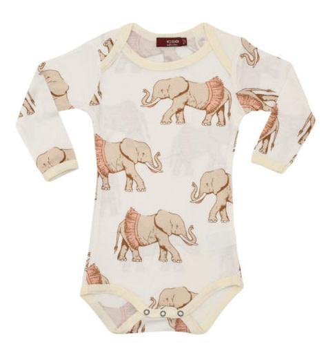 MilkBarn Bamboo Zip Pajamas Tutu Elephant